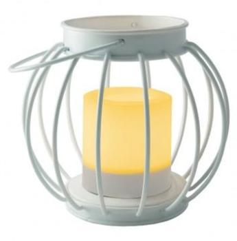 Lanterne métal ronde blanc