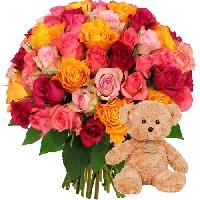 60ROSES MULTI OURS MARRON