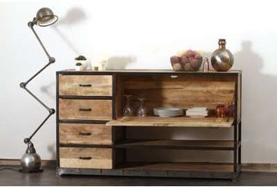 Buffet design industriel bois