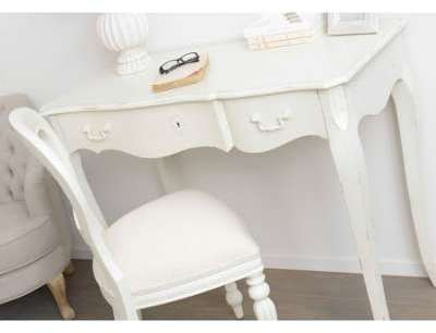 Bureau 1 tiroir blanc vieilli