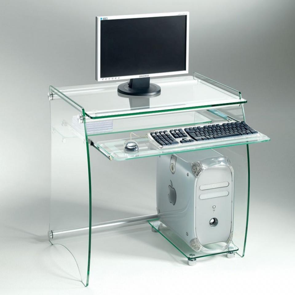Bureau en verre transparent