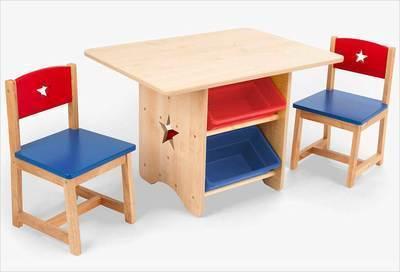 Table rangement enfant bois