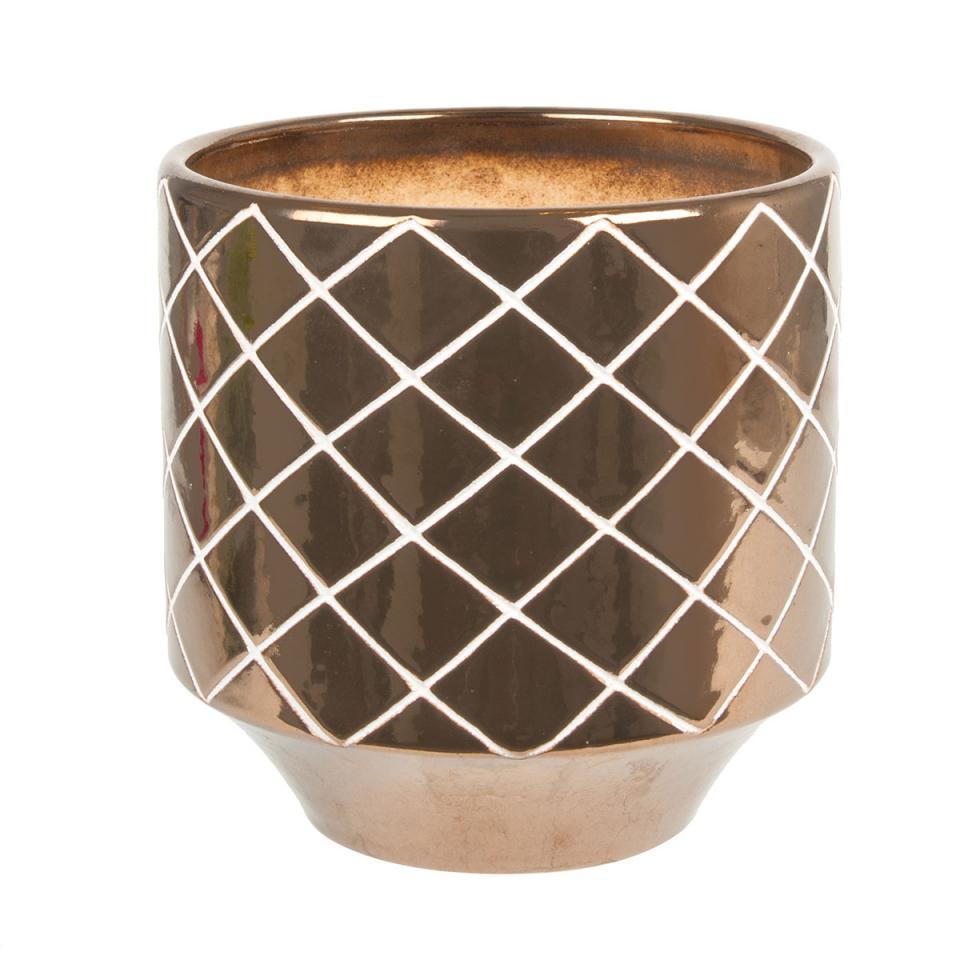 Cache Pot Carved Diamond Céramique