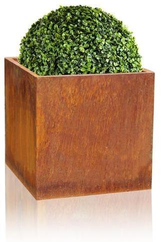 Cache-pot Cube Acier Corten