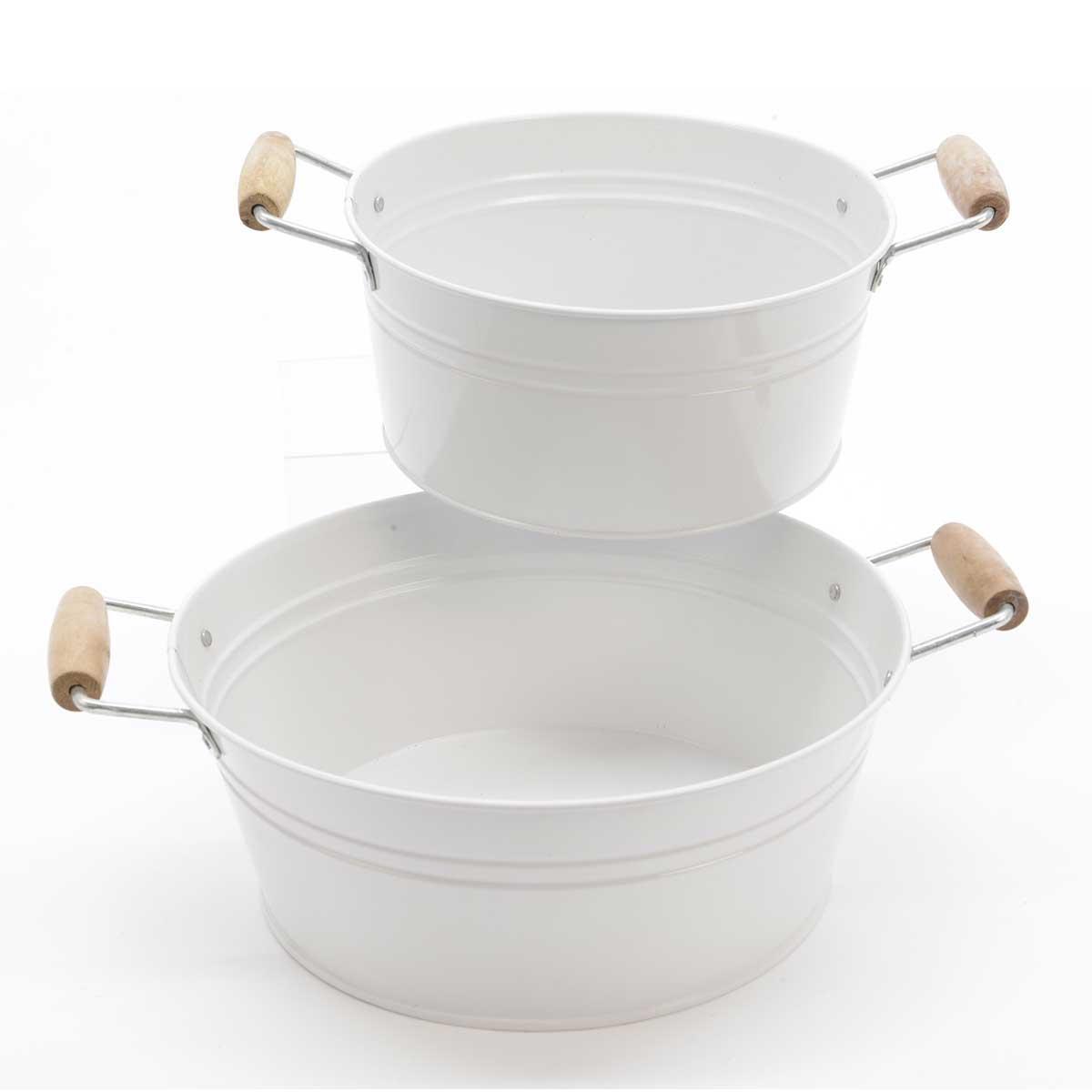 2 Caches Pots en Zinc Blanc