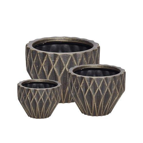 Set de 3 Cache Pots Noir Or