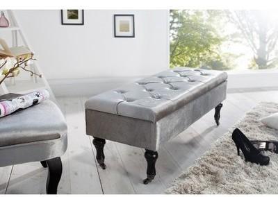 Banquette coffre velours gris