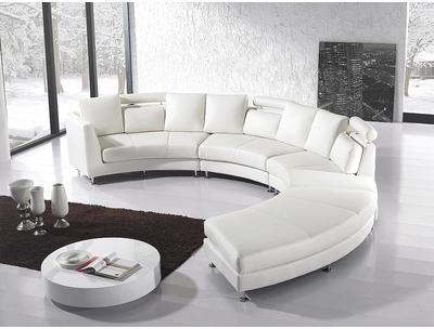 Canapé rond Cuir crème Sofa