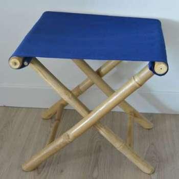 Tabouret bambou bleu