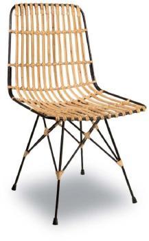 Chaise lounge métal et rotin
