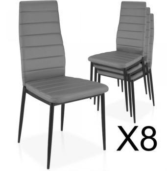 Lot de 8 chaises Strip empilables