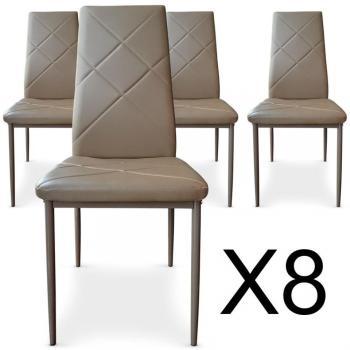 Lot de 8 chaises Paule Taupe