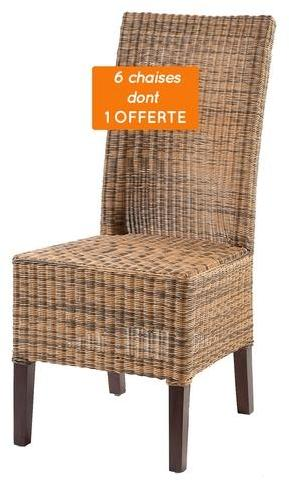 Lot 6 chaises en Rotin Marron