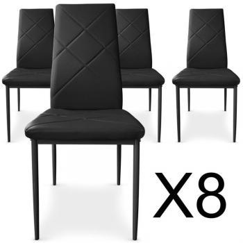 Lot de 8 chaises Paule Noir