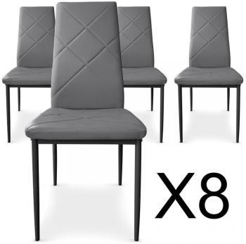 Lot de 8 chaises Paule Gris