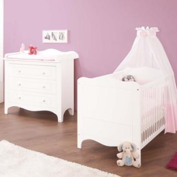 Pinolino chambre bb fleur blanc lit volutif commode for Ensemble lit commode bebe