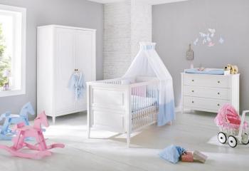 Pinolino CChambre bébé Victoria blanc : Lit bébé commode à
