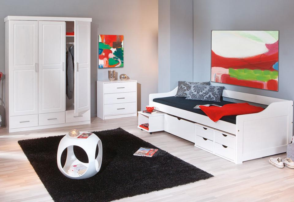 someo c chambre complte 90x190 200 blanc perle parm. Black Bedroom Furniture Sets. Home Design Ideas