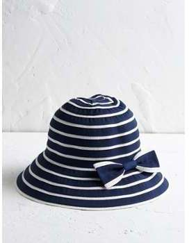 Chapeau rayé fille rayé bleu