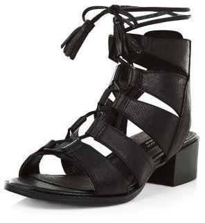 Sandales ghillie en cuir noir
