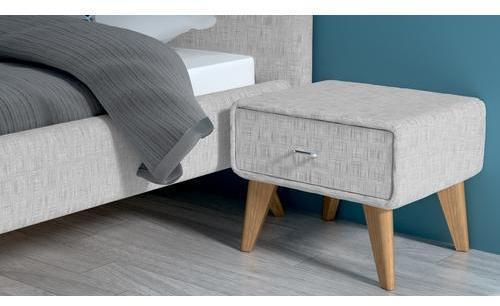 Chevet tissu pieds bois design