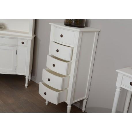 Chiffonnier 5 tiroirs blanc