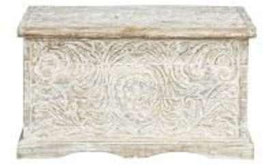 Coffre indien sculpté en manguier