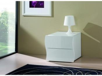 Chevet design blanc laqué
