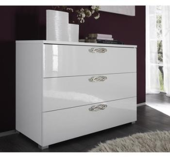 Commode laquée blanche 3 tiroirs