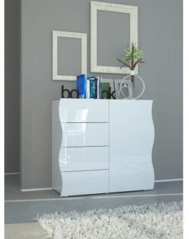 Commode design blanc laqué