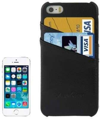 Coque rigide cuir noir porte-cartes