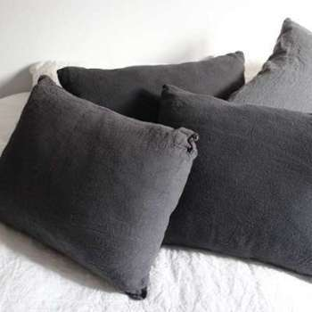Coussin Lin Brut Anthracite