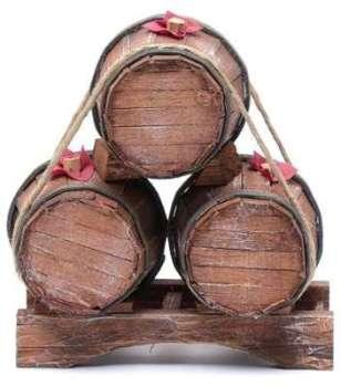 Trois tonneaux en bois 19x17x11