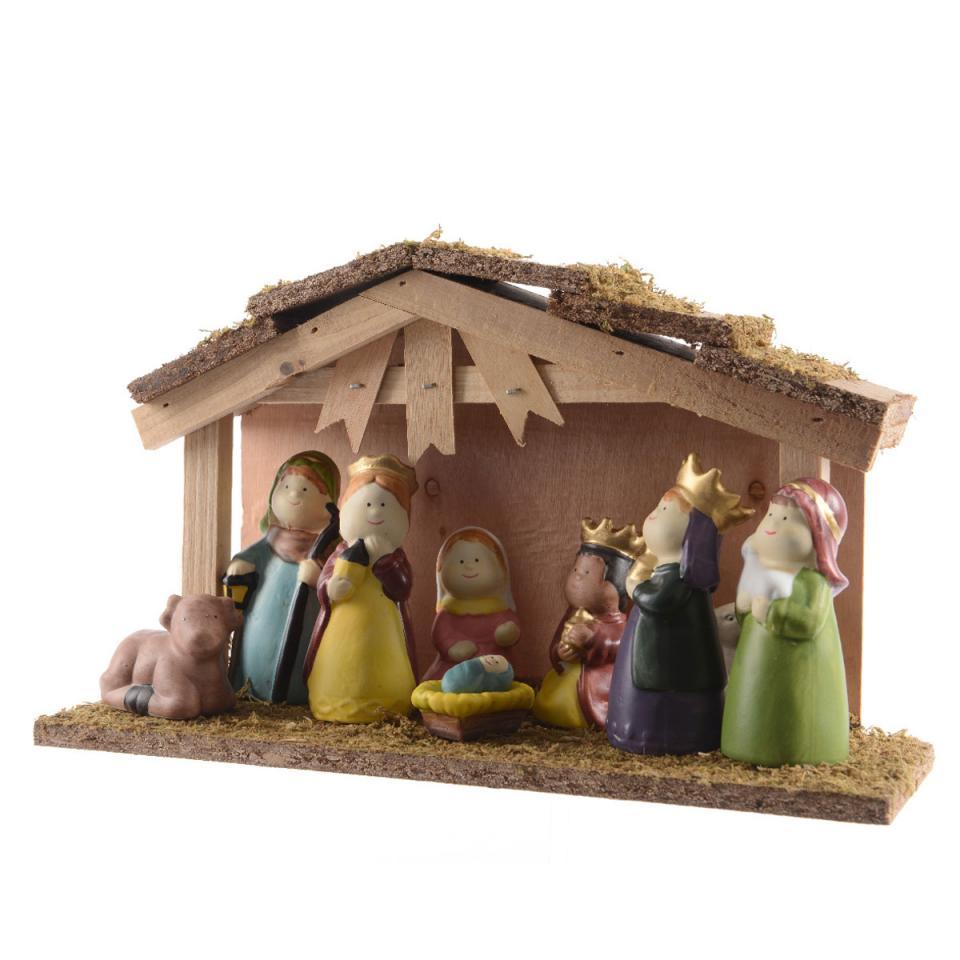 Crèche de Noël et 9 Santons