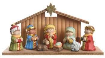 Crèche de Noël Bois et 8 Santons