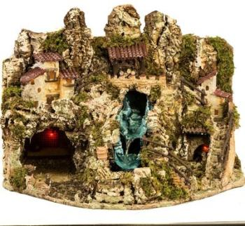 Grotte crèche Noel avec cascade