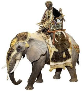 Roi Mage sur éléphant 30 cm
