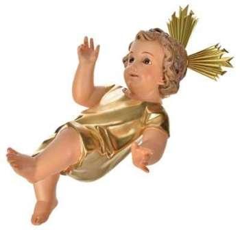 Jésus enfant robe dorée bois
