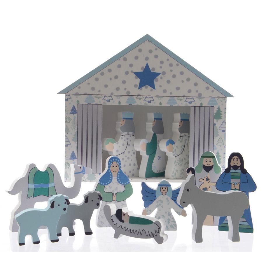 Crèche De Noël Bleu Blanc