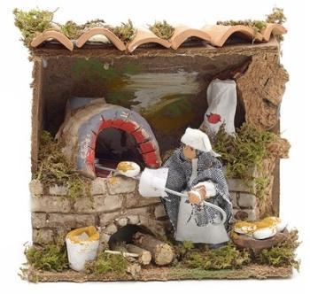Santon animé pour crèche boulanger