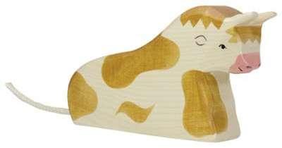 Taureau allongé marron par