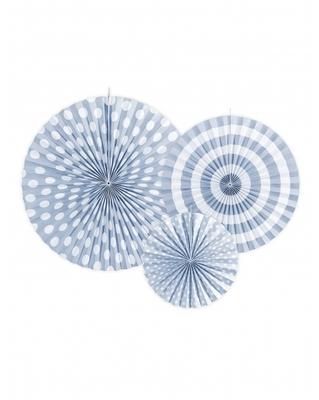 3 Rosaces en papier bleu ciel