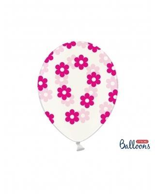 6 Ballons transparents fleurs