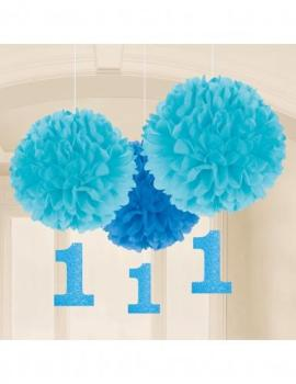 3 Pompons bleus 1 an bleu