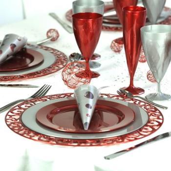 4 sous-assiettes rondes rouge