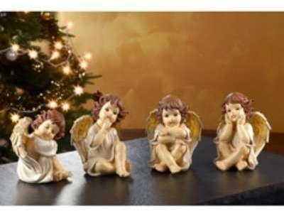 4 anges de Noël décoratifs