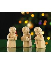 Trio de figurines en bois