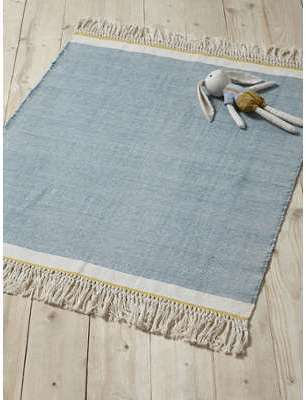 Tapis coton franges bleu