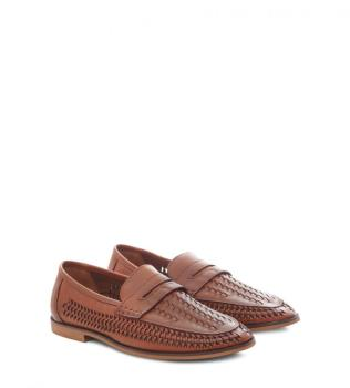 Tan Faux Leather Woven Loafers