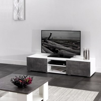 temahome nara meuble tv design bton avec 2 tiroirs. Black Bedroom Furniture Sets. Home Design Ideas
